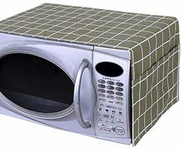 Pastoral Style Microwave Oven Dustproof Cover Dust Cover Green Plaid - $13.30