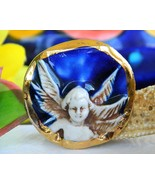 Cherub Angel Brooch Pin Pendant Porcelain Bisque Blue Brooke Andrews - $18.95