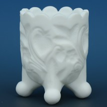 Vintage Kanawha Milk Glass Satin Inverted Strawberry Footed Toothpick Holder