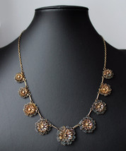 1940s Portuguese  gilt filigree floral necklace hallmarks 833 silver Por... - $125.00