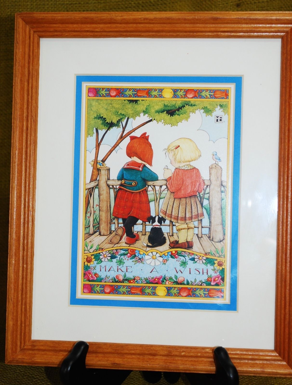 "Mary Engelbreit Framed Wall Hanging Art Print ""Made A Wish"" 2 Girls Wood Frame image 1"