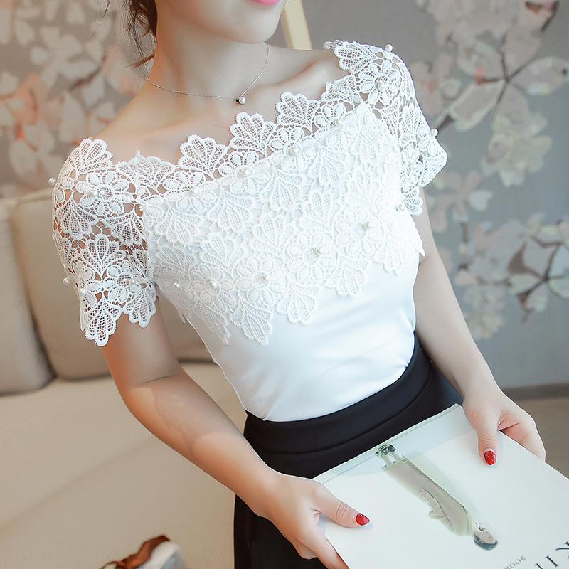 Hollow Out  Women Sexy Short Sleeve Blouse Ladies Fashion Elegant Blouses Women  image 4