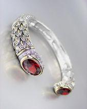 STUNNING Designer Inspired Red Garnet CZ Crystals Balinese Cuff Bracelet - $39.99