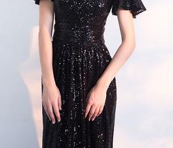 BLACK Sleeved High Waist Maxi Sequin Dress Floor Length Sequin Wedding Dresses image 10