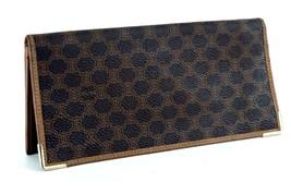 Auth CELINE Paris Macadam Brown Canvas & Leather Bifold Long Wallet Purs... - $137.61