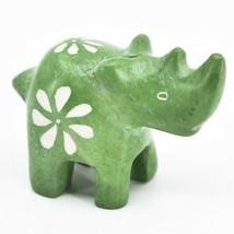 Hand Carved Kisii Soapstone Tiny Miniature Green Rhinoceros Rhino Figurine - $10.88