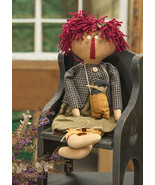 "Addy & Her Crow Rag Doll  Country Prim Primitive Style Folk Art  22""  New  - $24.00"