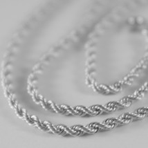 Braided Rope Chain In White Gold 750 18k, 40 45 50 60 cm, thickness 2.5 MM image 2