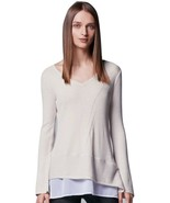 Vera Wang Cream Layered Sweater & Blouse Top - Women's Large L - $27.47