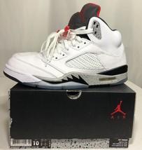 Nike Air Jordan Retro 5 V White Cement Men's 10 w Box Metallic Oreo Lane... - $179.99