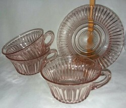 Queen Mary Anchor Hocking Pink Depression Glass 3 Cups Round Handle Sauc... - $24.99