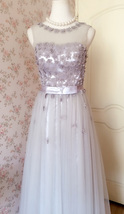 GRAY A-line Embroidery Flower Sweetheart Tulle Gray Bridesmaid Wedding Dresses image 8