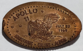 APOLLO 11 July 20 1969 Armstrong Collins Aldrin on 20 cent Mexican bronze coin - $19.95