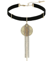 NEW STEVE MADDEN Black Gold Faux Suede Choker Necklace - $22.99