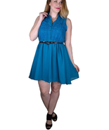 Sleeveless plus size mini teal dress  - $15.99