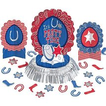 Amscan High Riding Western Party Table Decorating Kit (23 Piece), Silver... - $12.34