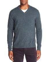 NEW $198 BLOOMINGDALES SEAGLASS GREEN 2 PLY 100% CASHMERE V-NECK SWEATER... - $27.72