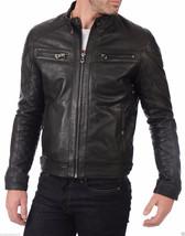 Mens Black Handmade Real Bespoke Cowhide  Black Genuine Leather Jacket - $118.79+