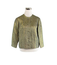 Gray gold geometric HAL LEURS 3/4 sleeve shimmery vintage jacket M - $20.00