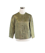 Gray gold geometric HAL LEURS 3/4 sleeve shimmery vintage jacket M - $20.00