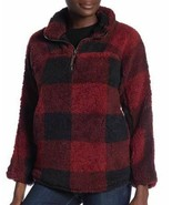 Elodie Half Zip Faux Shearling Pullover, Red/Black, Large, EAC106 - $14.84