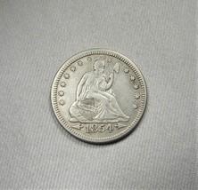 1854-P Arrows Silver Seated Liberty Quarter Coin AI068 - $69.59