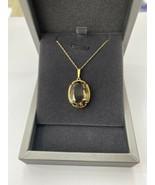 Gold Necklace Smokey Quartz Gemstone Pendant 14k Chain - $379.07