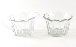 Anchor Hocking Clear Glass Scalloped Edge Creamer & Sugar Bowl Set - $11.87