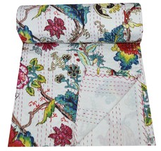 Indian White Floral Print Bedspread Cotton Kantha Quilt Twin  Bedding Bl... - £30.39 GBP