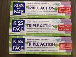 Lot Of 3 Kiss My Face Triple Action Fluoride Free Toothpaste Fresh Mint 4.1 oz - $40.02