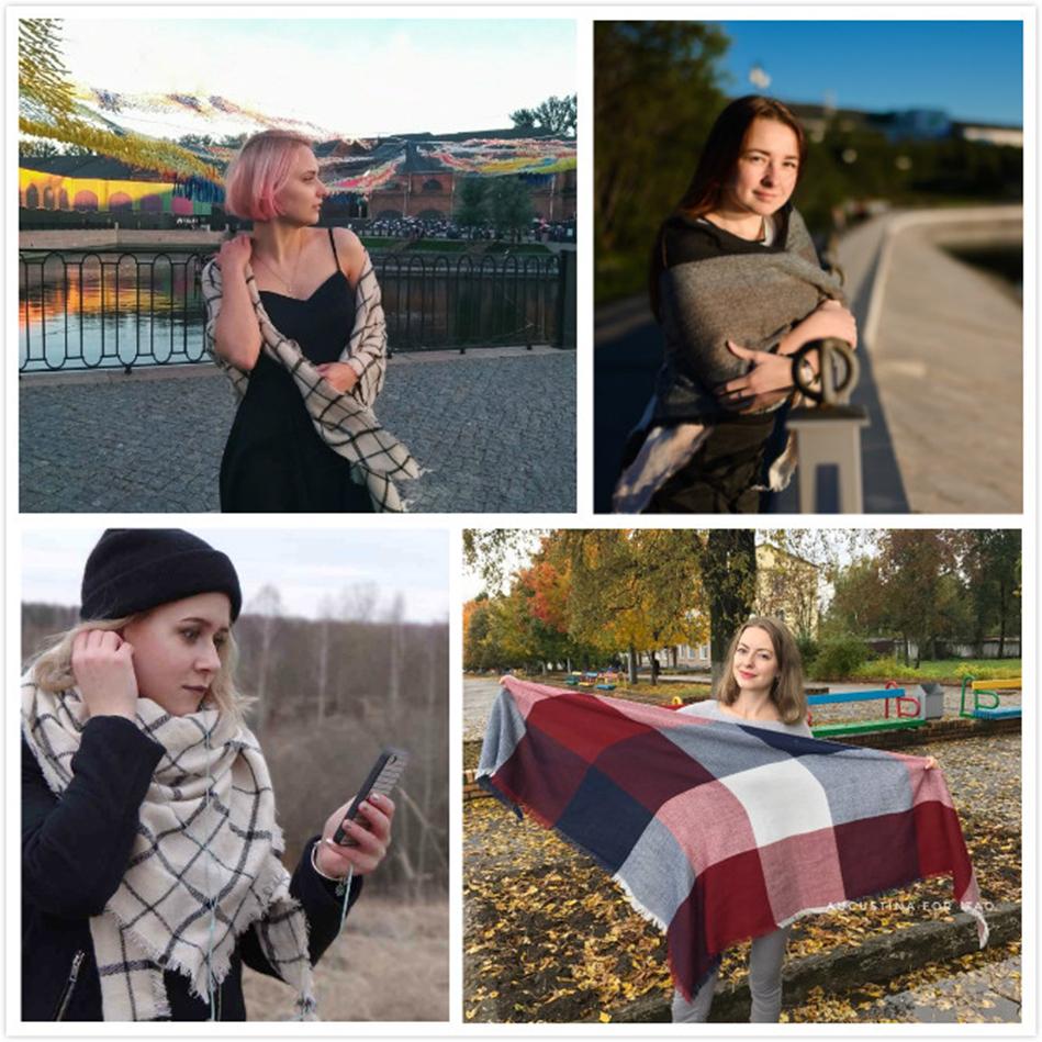 Evrfelan New Winter Scarf Fashion Women Scarf Luxury Plaid Cashmere Scarves Wome image 6