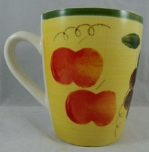 Tuscan Fruit by Royal Norfolk Mug Green Band Apples Grapes Pears Coffee Cup - $5.90