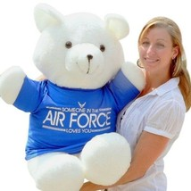 American Made Big Teddy Bear 36 Inch Soft, Tshirt Someone in Air Force L... - $97.11