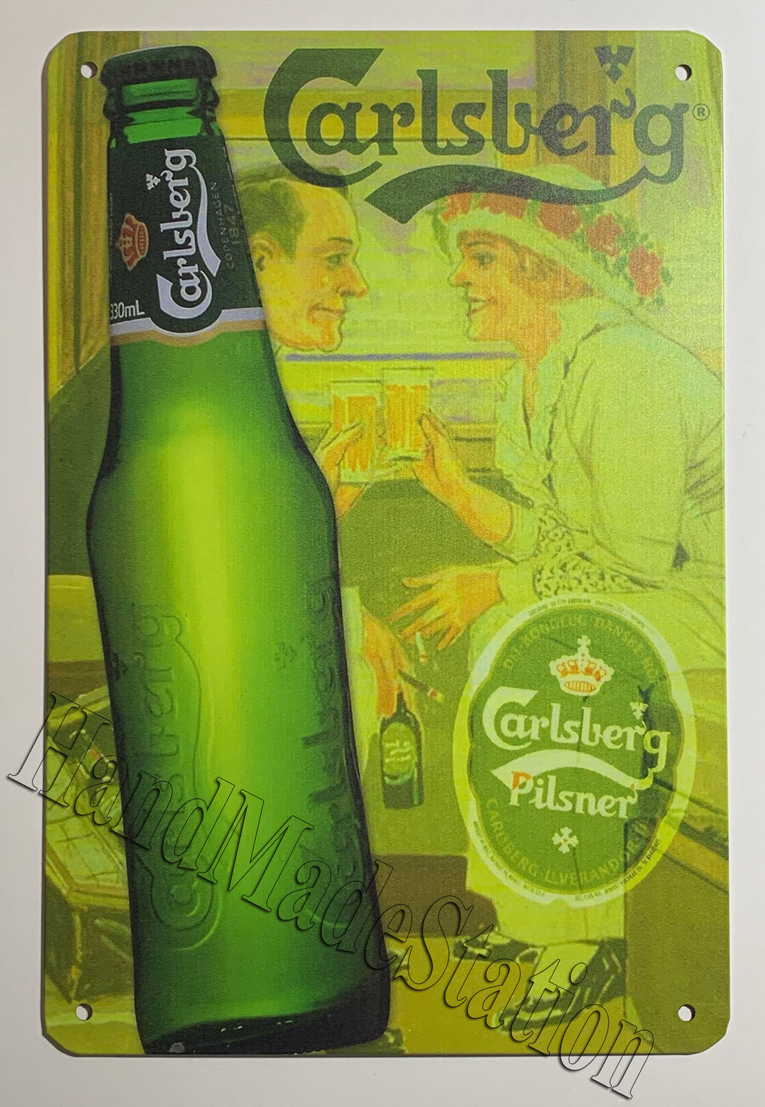 "Carlsberg Beer Bottle Logo Wall Metal Sign plate Home decor 11.75"" x 7.8"""