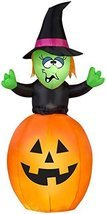 5.5' Airblown Springing Witch in Pumpkin Halloween Inflatable - £31.57 GBP