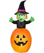 5.5' Airblown Springing Witch in Pumpkin Halloween Inflatable - £31.80 GBP
