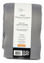 Mainstays Fabric Shower Curtain Gray Textured Waffle with Hooks 70 x 72 - $23.73