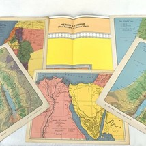Vintage Religious Biblical Bible Map Lot of 6 Palestine Herod's Temple I... - $23.75