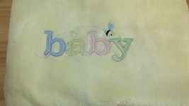 Carters Yellow baby blanket pastel stitched BABY embroidered  bee satin ... - $24.05