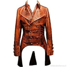 Men Gothic Tailcoat Steampunk Victorian Real Brown Leather Trench Long Coat - $114.99