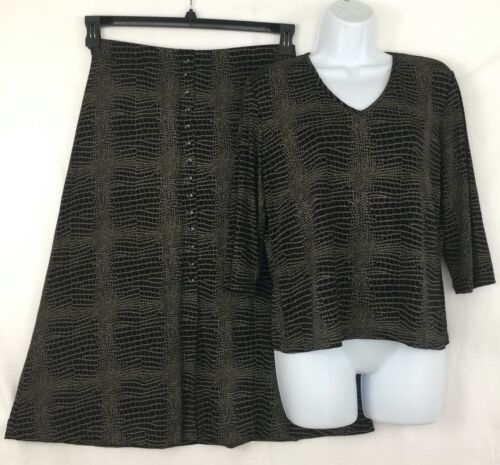 Primary image for Briggs New York Croco Print Brown Black 3/4 Sleeve Skirt Top Set 2 pc Dress Sz L