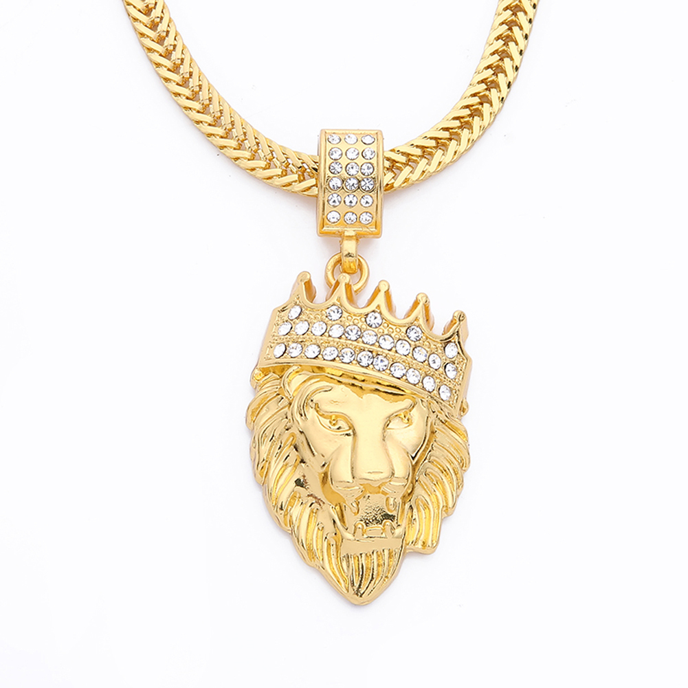 Chain Men Lion Head Pendant Inlay Rhinestone Necklace HipHop Lion King Crown