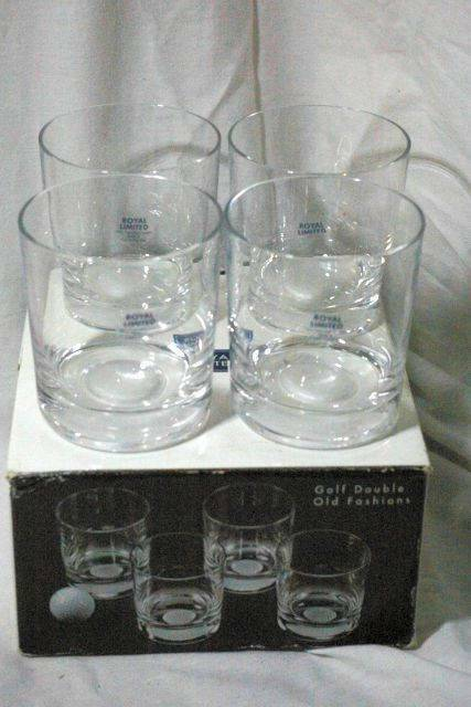 Primary image for Royal Limited Boxed Set Of 4 Crystal Golf Double Old Fashion Glasses DOF