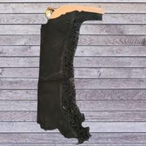 Basket Weave Tooled Action Company Equitation Chaps Black Size Medium image 1