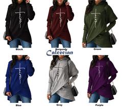 Womens Hoodies Sweatshirts Long Sleeve Faith Embroidery Outerwear Pullov... - $23.23