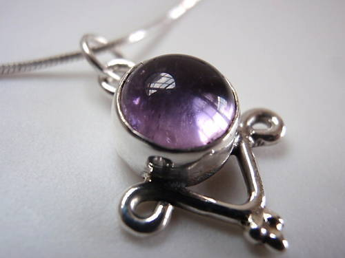 Primary image for Dainty Amethyst 925 Sterling Silver Necklace India New