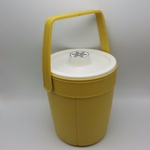 Rubbermaid 2260 Harvest Gold Yellow Ice Bucket White Snowflake Lid Picni... - $13.21