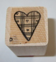 Plaid HEART Rubber Stamp Close To My Heart Love Wood Mounted - $3.46