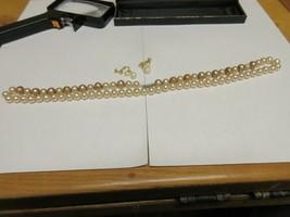 "Costume Jewelry ,Vintage , Neaclace 28"" , Earrings , Brown / White Pearl - $22.00"