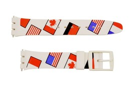 Swatch Replacement 17mm Plastic Watch Band Strap Flags - $11.75